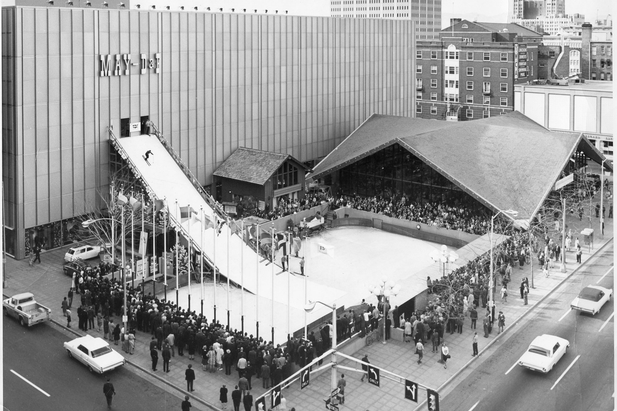 The ski run outside the May D&F department store in 1964.