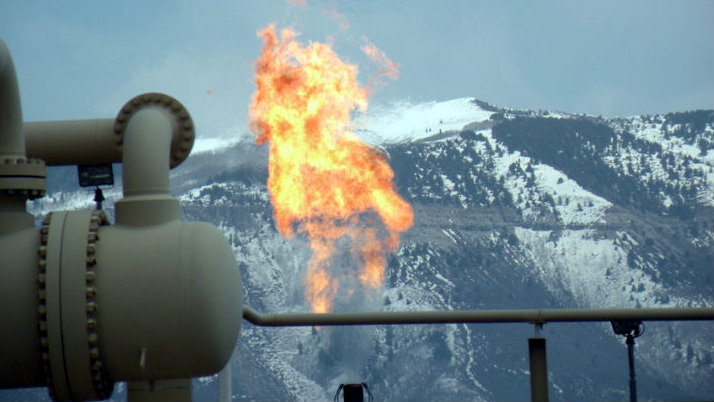 <p>Flaring is a controlled burn of natural gas and is a common practice in oil and gas exploration, production and processingoperations.The flaring of unwanted hydrocarbons at a natural gas refinery in the Piceance Basin of Colorado is shown here.</p>