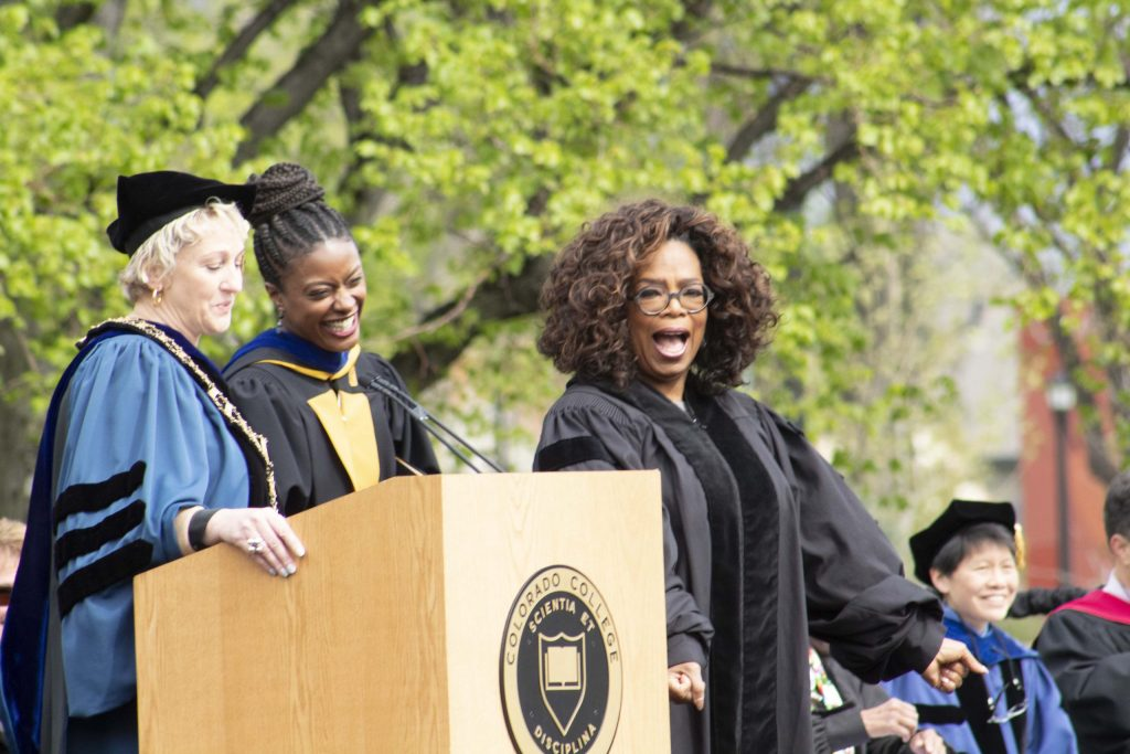 Oprah Winfrey celebrates before receiving her honorary degree from Colorado College at the 2019 commencement. Winfrey was given a degree of Doctor of Humane Letters.