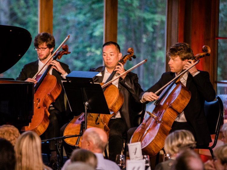 "<p>The cello section performs during the world premiere of David Ludwig's ""Pangaea"" at Bravo! Vail. The music is one of several piece featured on the upcoming season of the Centennial Sounds podcast.</p>"