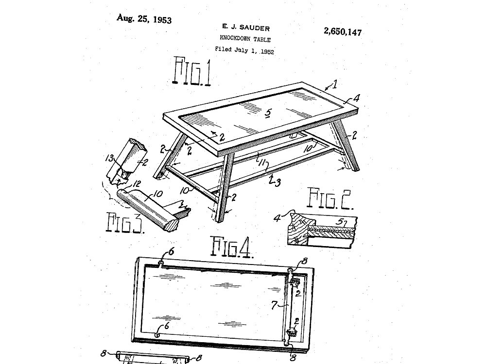 <p>E.J. Sauder's plans for a knockdown table</p>