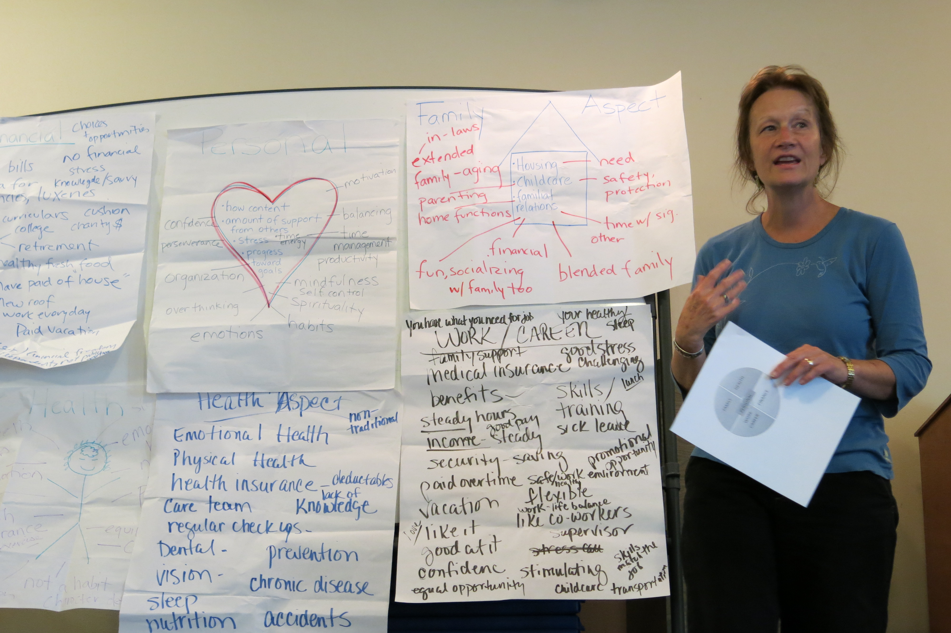 <p>Routt County Human Services director Vickie Clarke addresses a Routt to Work meetingin front of a board of concernsbrainstormed by participants.</p>