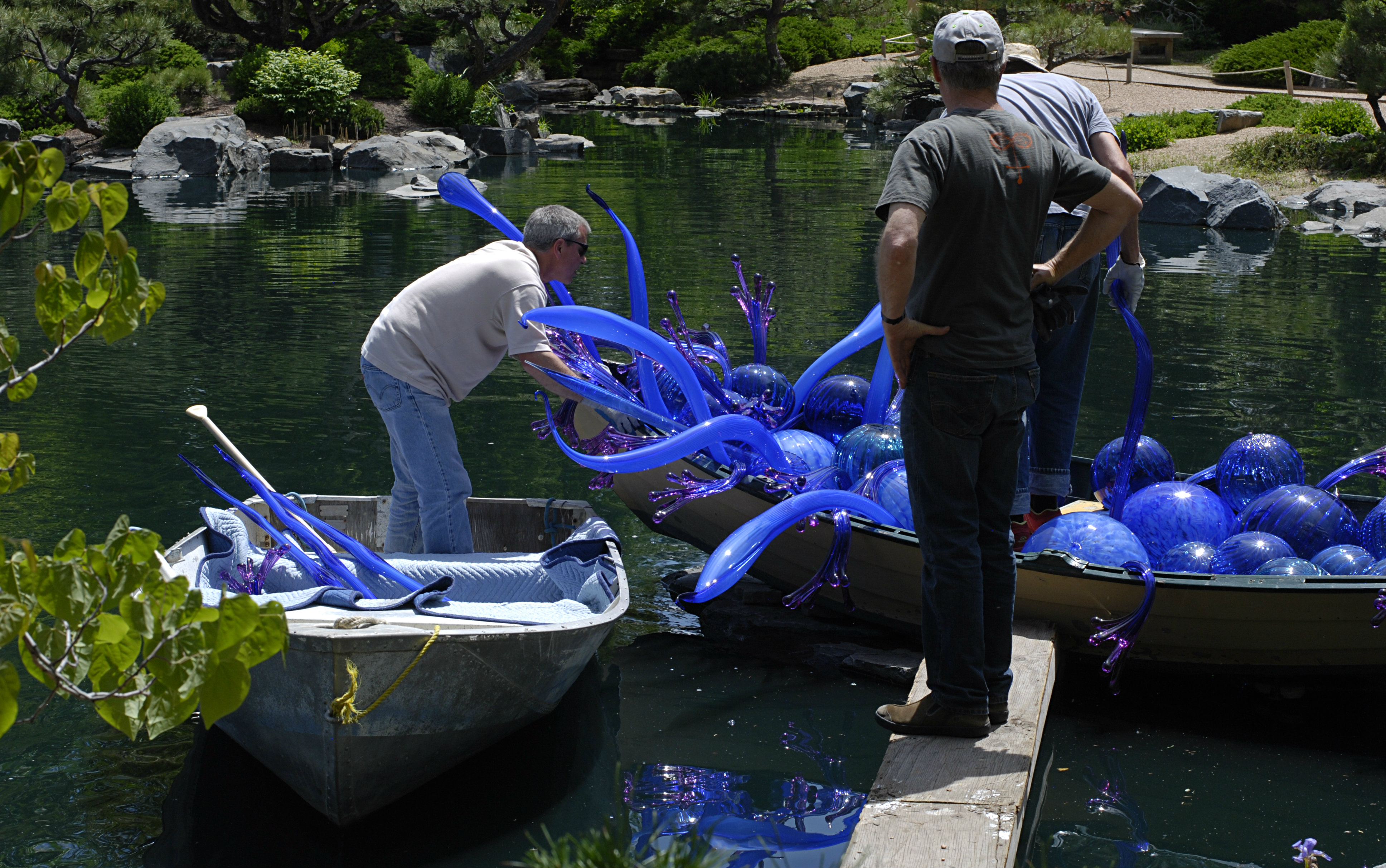 <p>Members of Team Chihuly from Washington help install a glass sculpture for the Denver Botanic Gardens 2014 exhibition.</p>