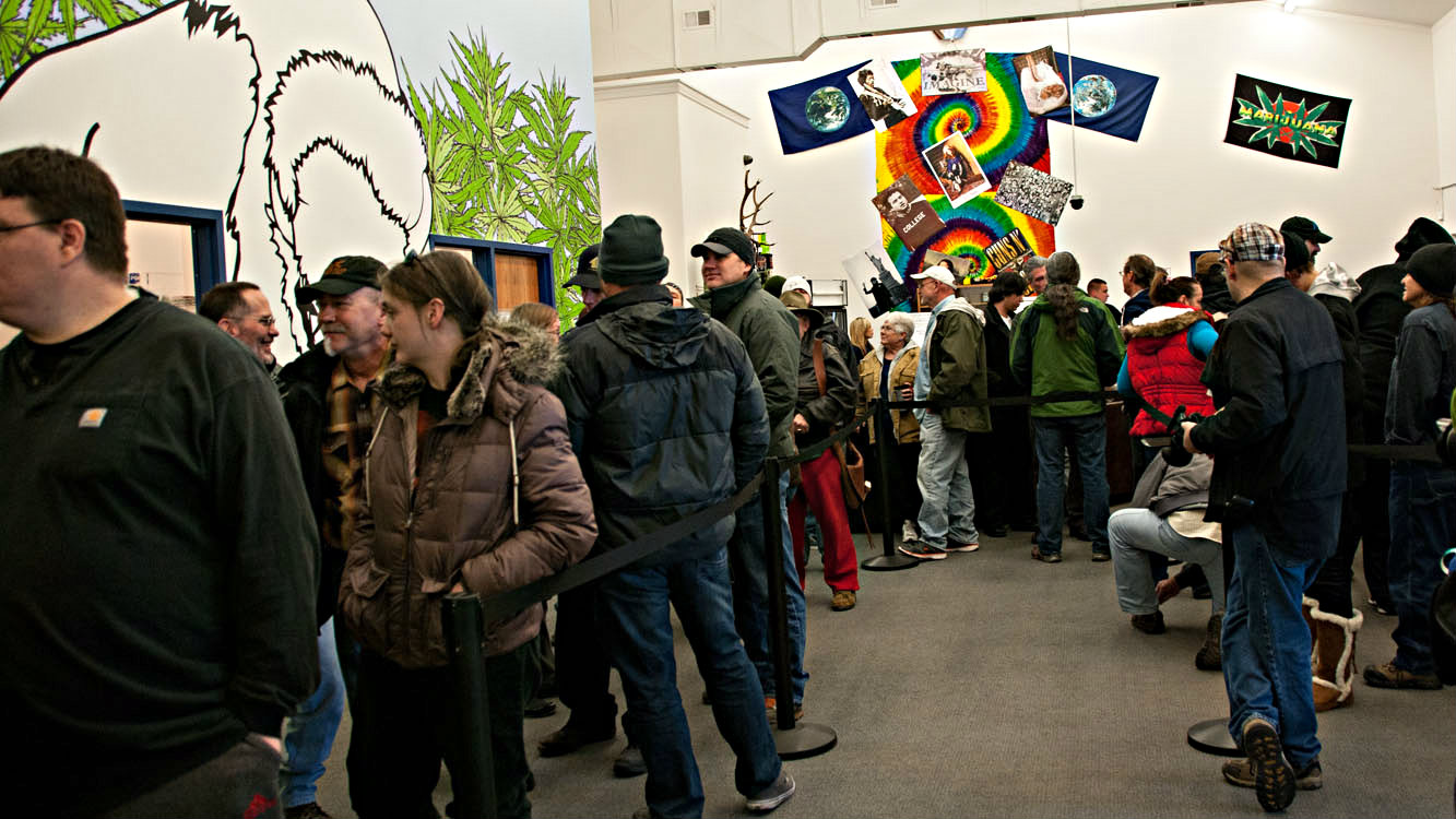 <p>Long lines of shoppers also turned out at Marisol Therapeutics in Pueblo West.  This unincorporated community in Pueblo County has established some of the most marijuana-friendly policies in the state.</p>