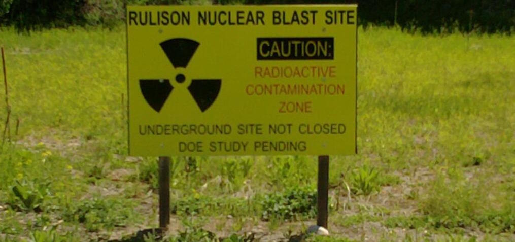 <p>A sign marks the western Colorado location of the 1969 underground nuclear bomb explosion known as Project Rulison.  The bomb was detonated by the Atomic Energy Commission as part of Operation Plowshare, which hoped to find peacetime uses for nuclear devices. </p>