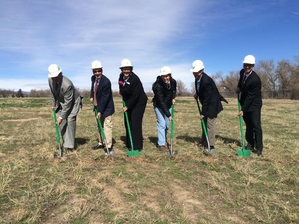 <p>Fort Collins and Clean Energy Collective officials break ground. From left to right: CEC COO Tom Sweeney, Fort Collins Utilities Executive Director Kevin Gertig, Fort Collins Mayor Karen Weitkunat, Fort Collins resident Lynn Richards, Fort Collins City Council Member Bob Overbeck, Deputy City Manager Jeff Mihelich. </p>