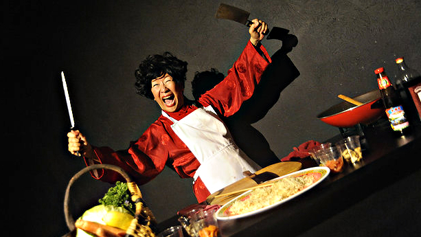"<p>Maria Cheng, a founder of Theatre Esprit Asia, in a scene from her solo performance, ""Spirit & Sworded Treks.""</p>"