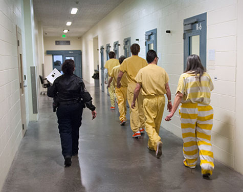 <p>Inmates in the custody of a Denver deputy.</p>