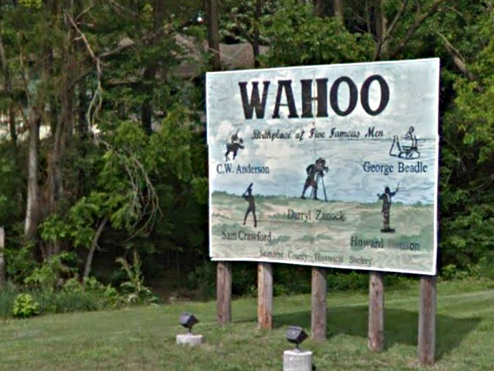 "<p>Howard Hanson and four other ""famous men"" are mentioned on a welcome sign in Wahoo, Neb.</p>"