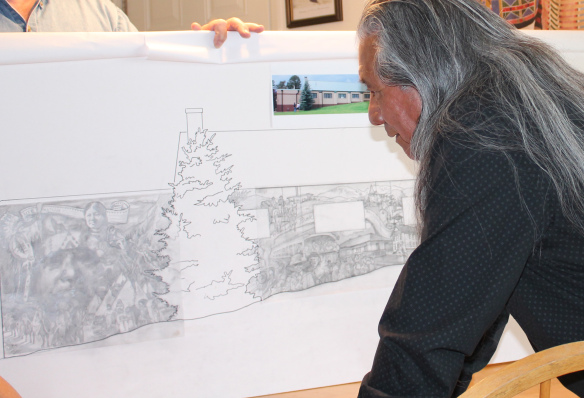 <p>The concept sketch for Woodland Park's new interactive mural.</p>