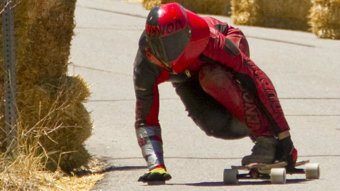 <p>Zak Maytum of Boulder competes in a recent downhill skateboard race.</p>