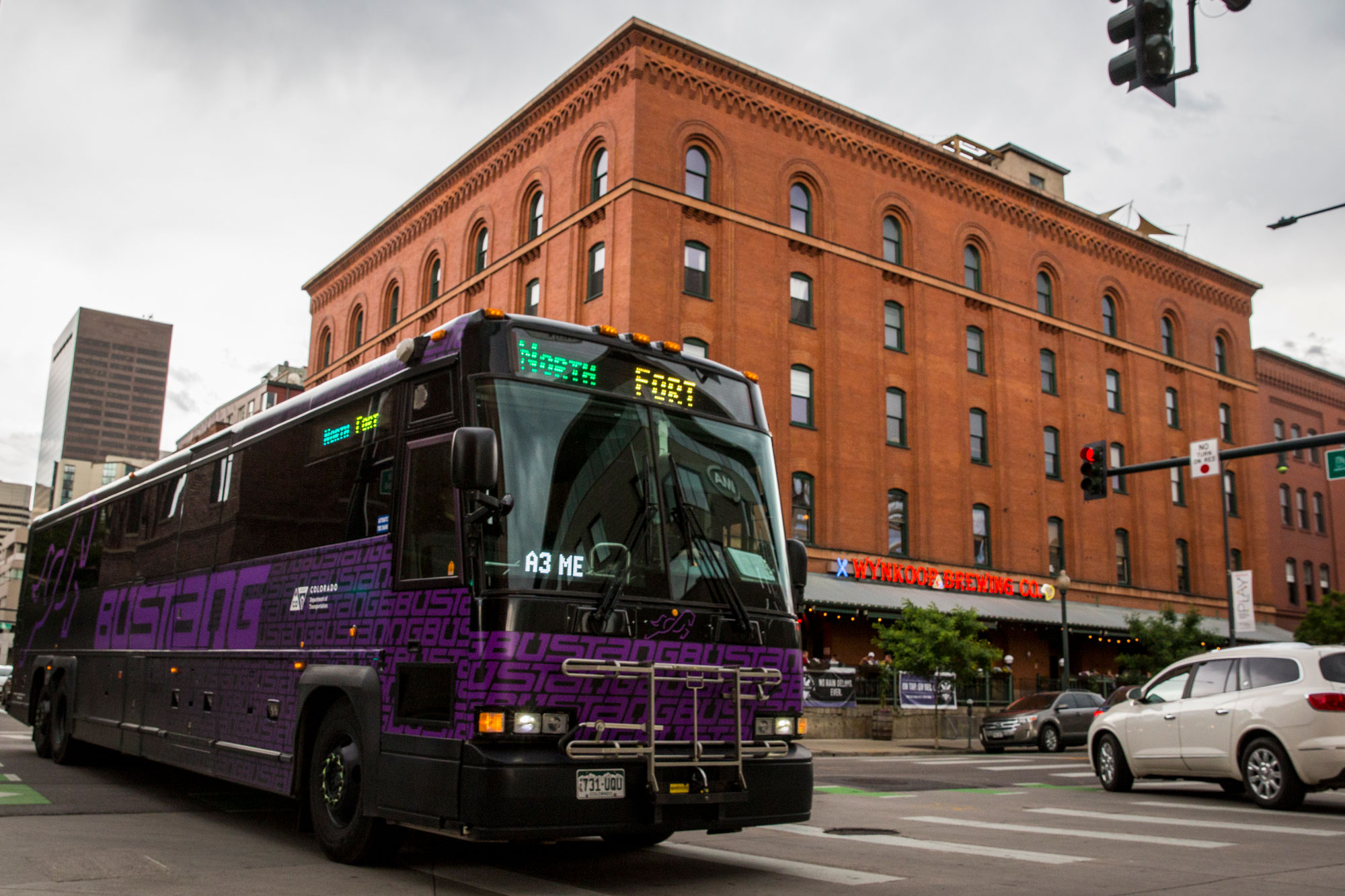 <p>A Bustang passenger bus in downtown Denver Thursday, June 13, 2019. </p>