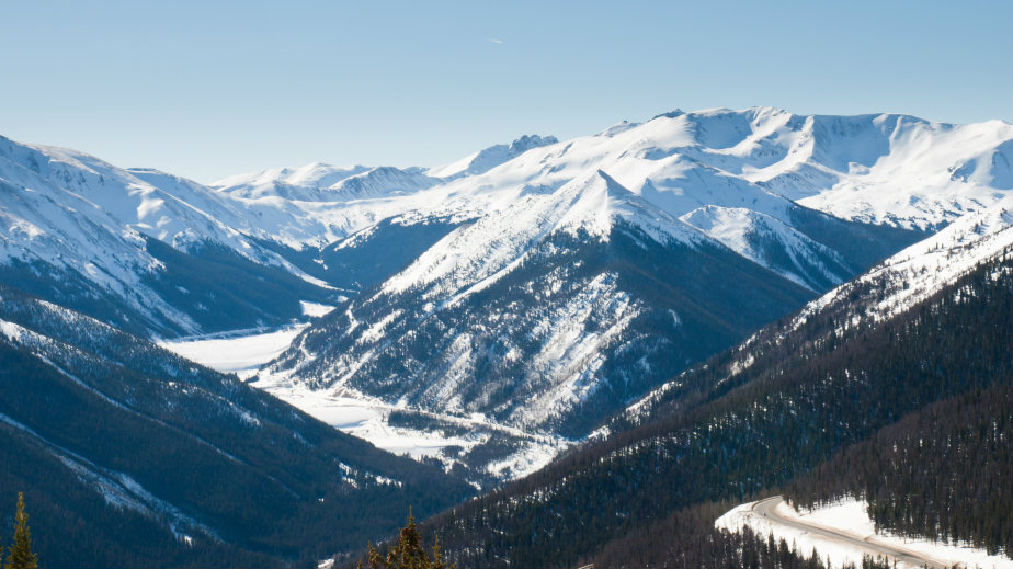 <p>Snowcapped mountains in Berthoud Pass, Colorado. </p>