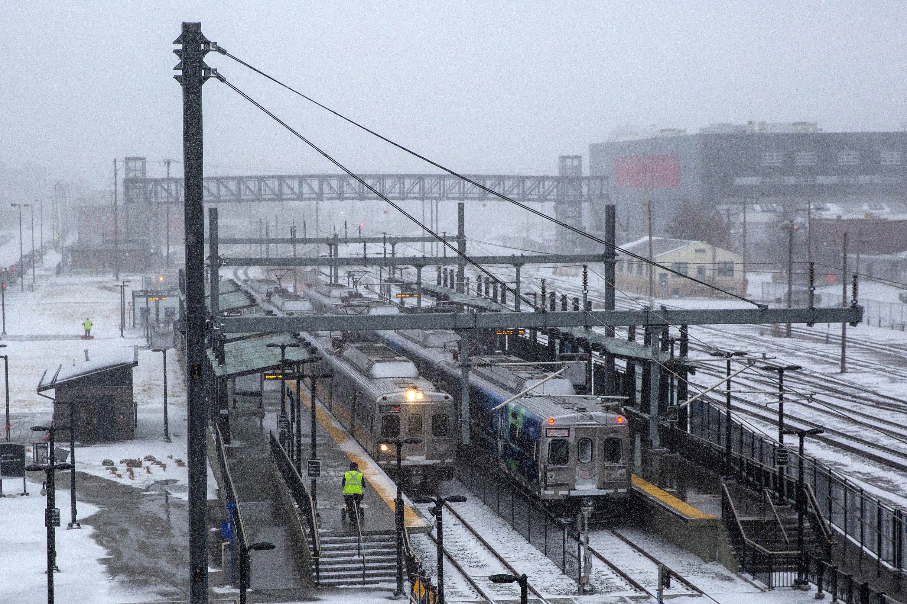 <p>RTD A Line commuter rail trains at the 38th and Blake Street station in Denver.</p>