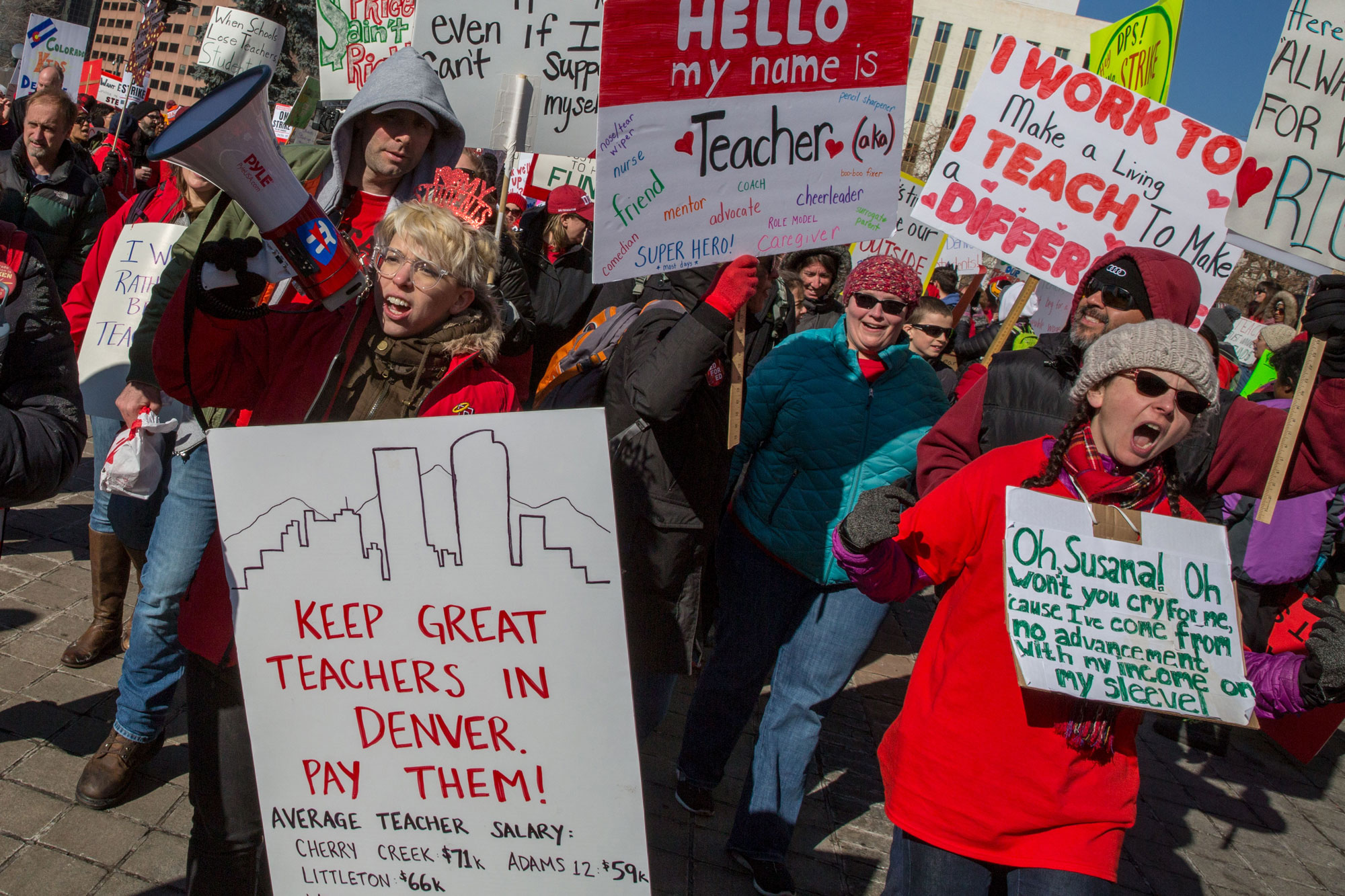 <p>Denver East High School teachers arrive at a state Capitol rally Monday afternoon Feb. 11 2019. Striking Denver teachers and their supporters gathered for a raucus hour-long rally Monday Feb. 11, 2019, on the state Capitol steps.</p>