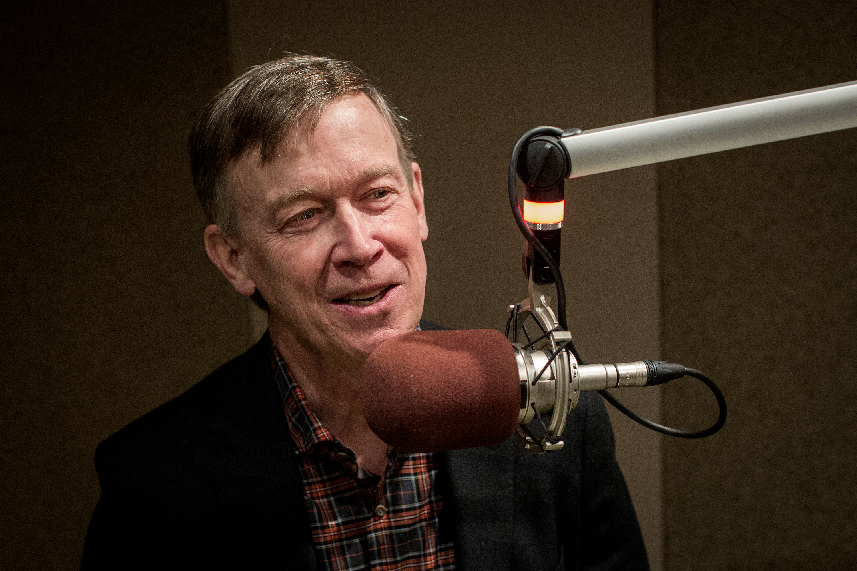 <p>Presidential candidate and former Colorado Gov. John Hickenlooper at the CPRstudios Monday April 22, 2019.</p>