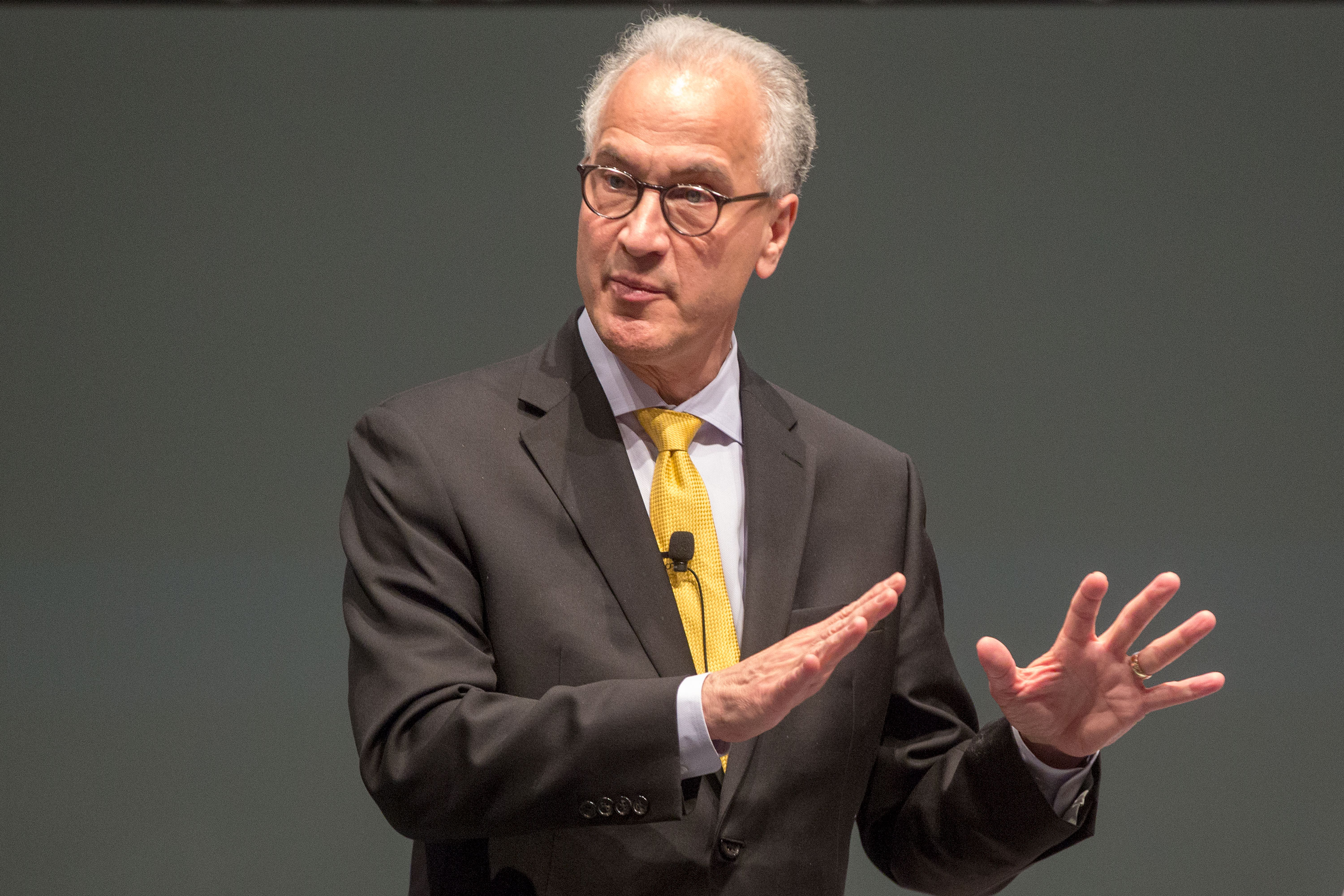 Mark Kennedy answers audience questions Wednesday, April 24, 2019, at the CU Anschutz Medical Campus. Kennedy is the only finalist for the position of president at the University of Colorado. He's visiting all the campuses in the university system.