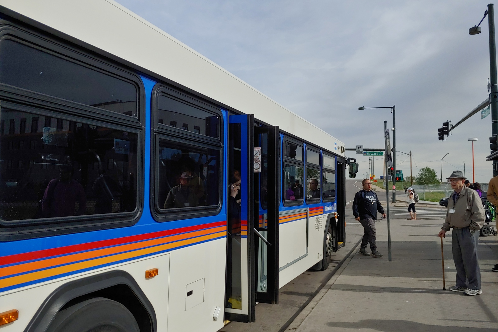 <p>A bus stops at the intersection of Federal Boulevard and Howard Place in Denver on May 16, 2019. The intersection is especially dangerous to pedestrians because of the eight-lane road intersectingbusand light rail stops.</p>