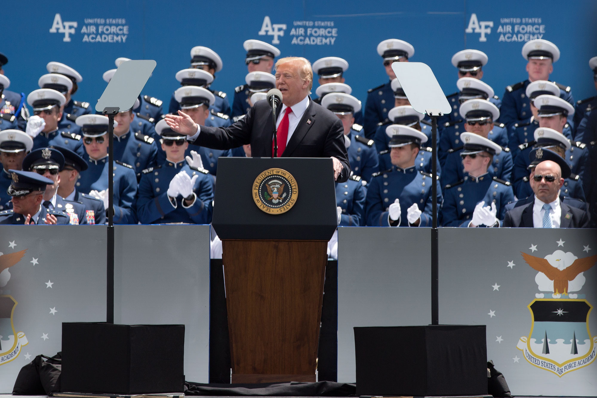 President Donald Trump delivers the commencement address at U.S. Air Force Academy graduation, May 30, 2019.