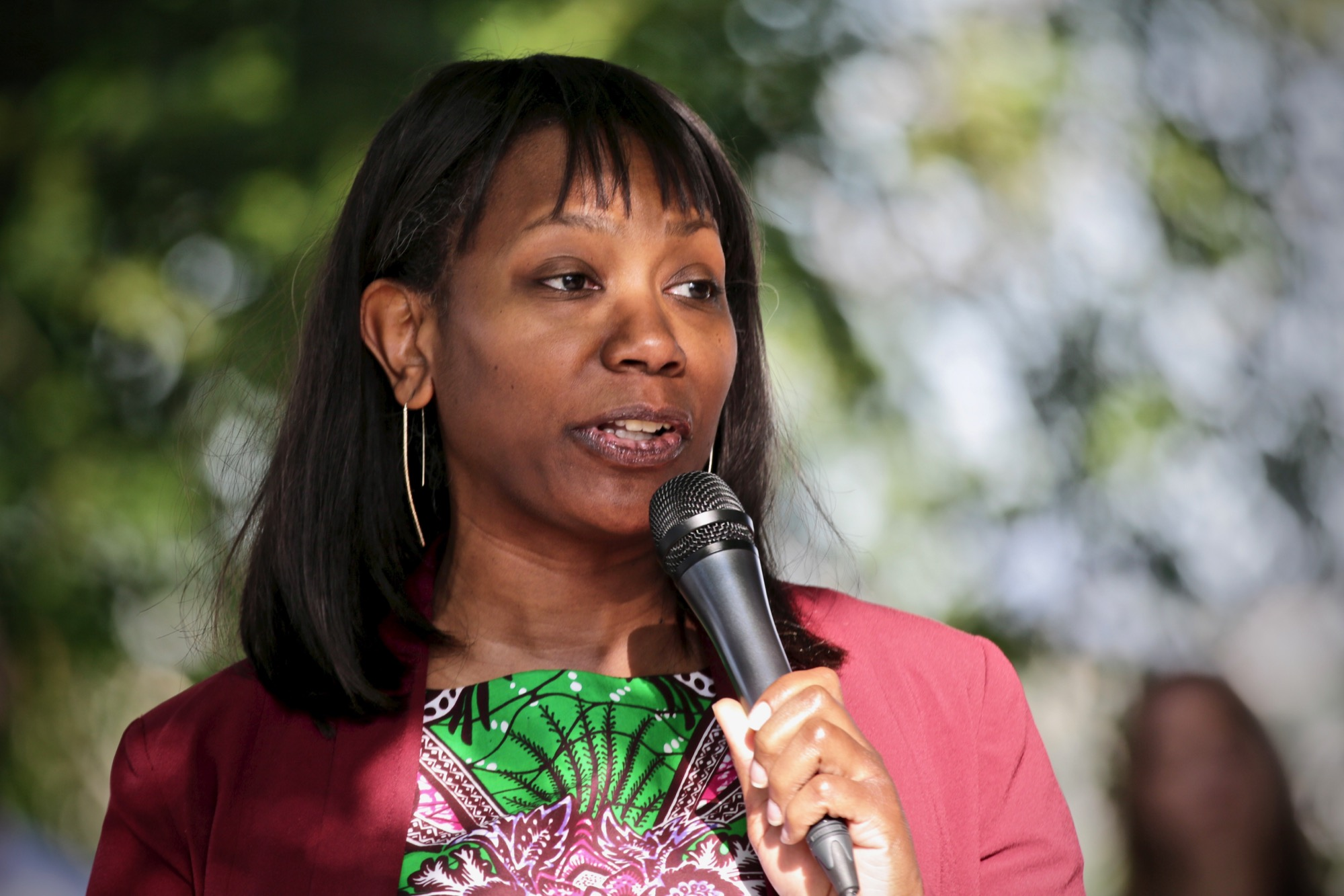 Pastor and UC Colorado Springs Professor Stephany Rose Spaulding at a picnic-style candidate forum hosted by Indivisible Denver to introduce Democrats running to unseat Republican U.S. Sen. Cory Gardner in 2020, held at Barnum Park on Sunday, June 9, 2019.