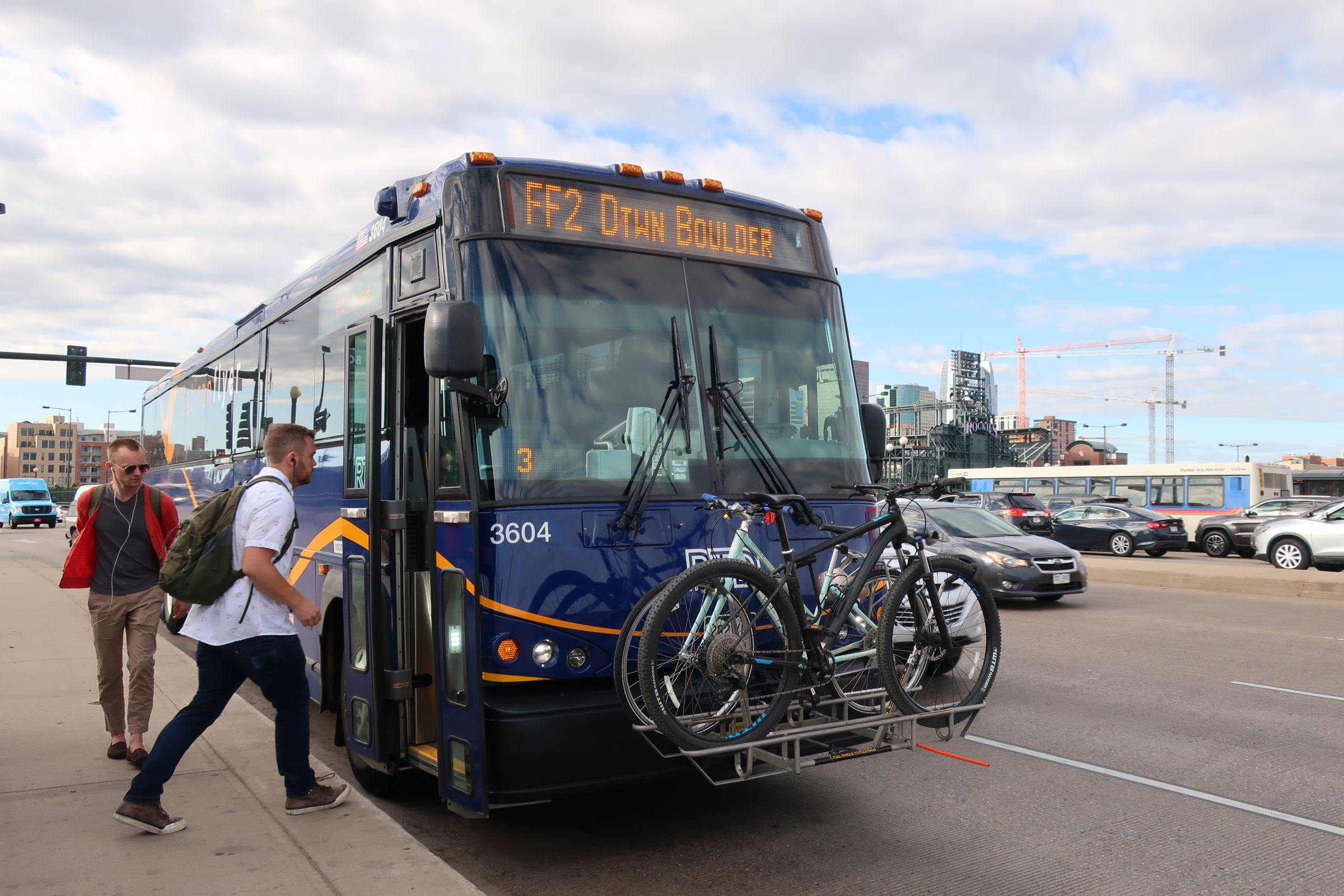 Passengers board the RTD Flatiron Flyer bus in downtown Denver on its way to Boulder on Friday, June 21, 2019. The bus uses toll lanes on U.S. 36 for much of its journey, which allows it to skip some traffic.