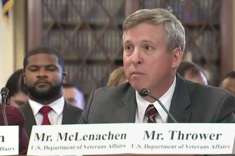 <p>Dave McLenachen, the director of the VA's Appeals Management Office, testifies at a December Congressional hearing on wait times for veterans' benefit appeals.</p>