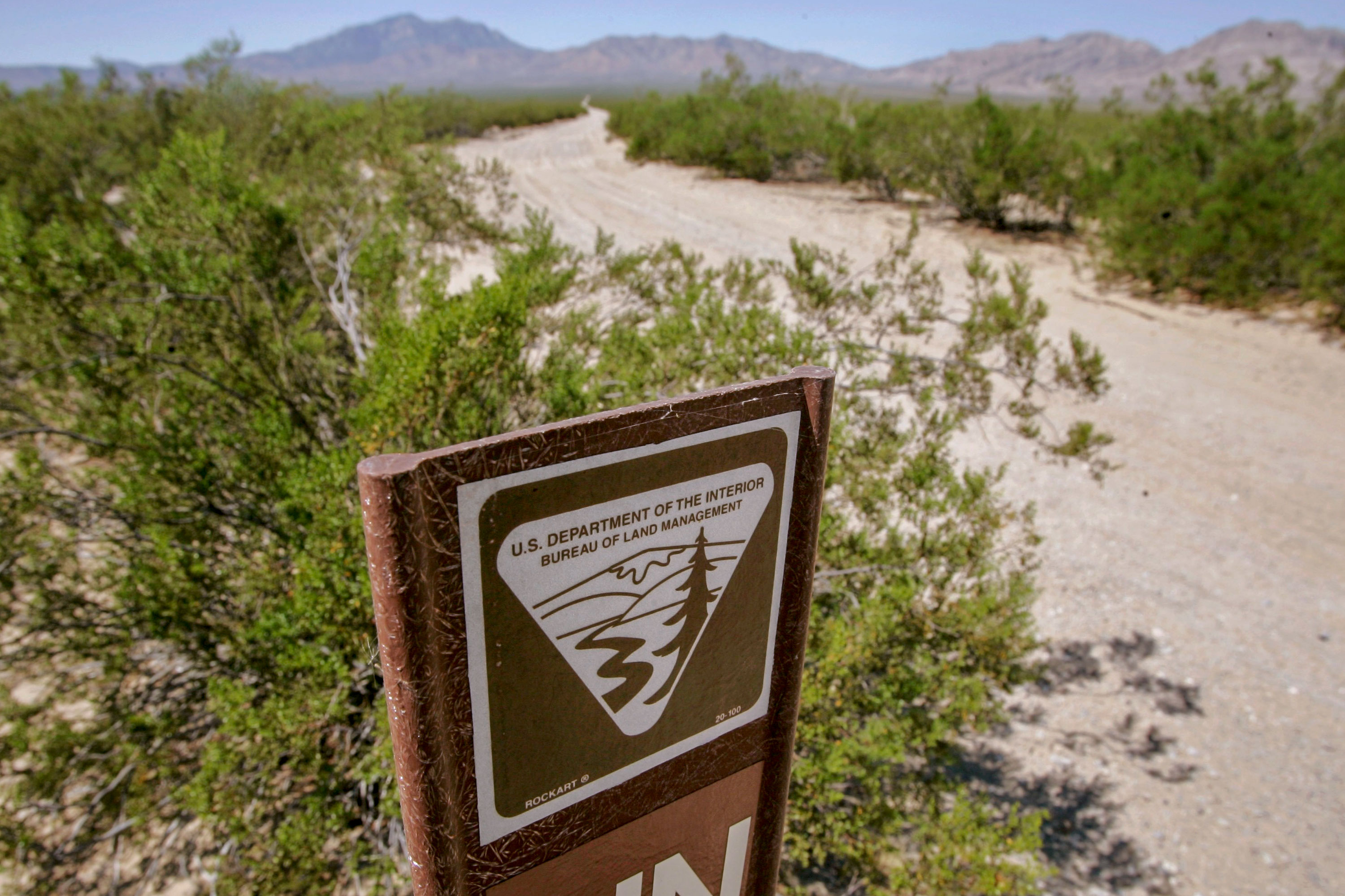 A Bureau of Land Management range marker in the eastern Mojave Desert several miles from Ivanpah, Calif., Sept. 3, 2008.