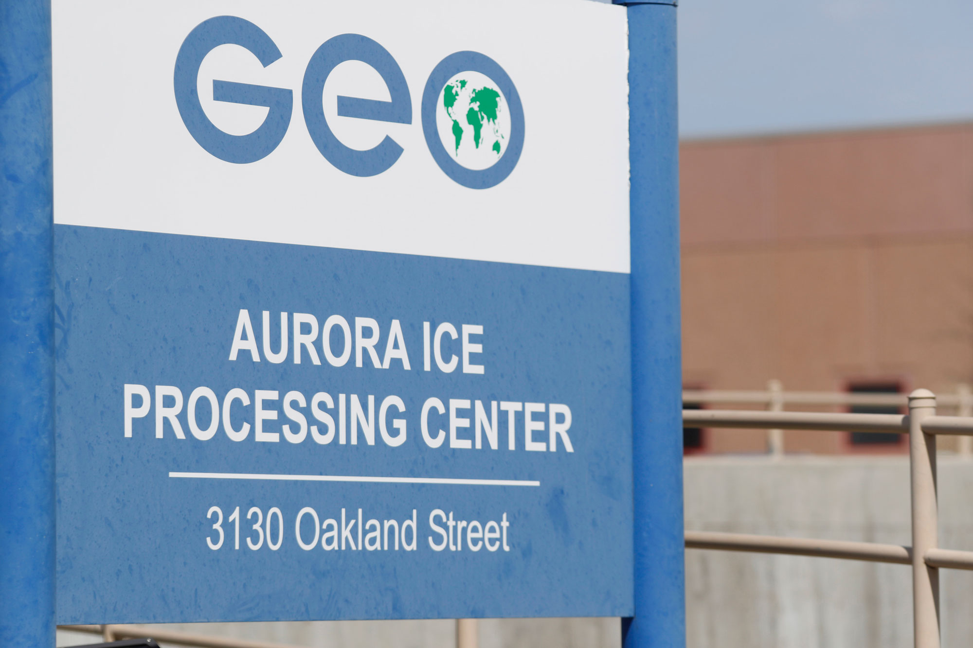 This Saturday, April 15, 2017, photograph shows the entrance to the GEO Group's immigrant detention facility in Aurora, Colo.