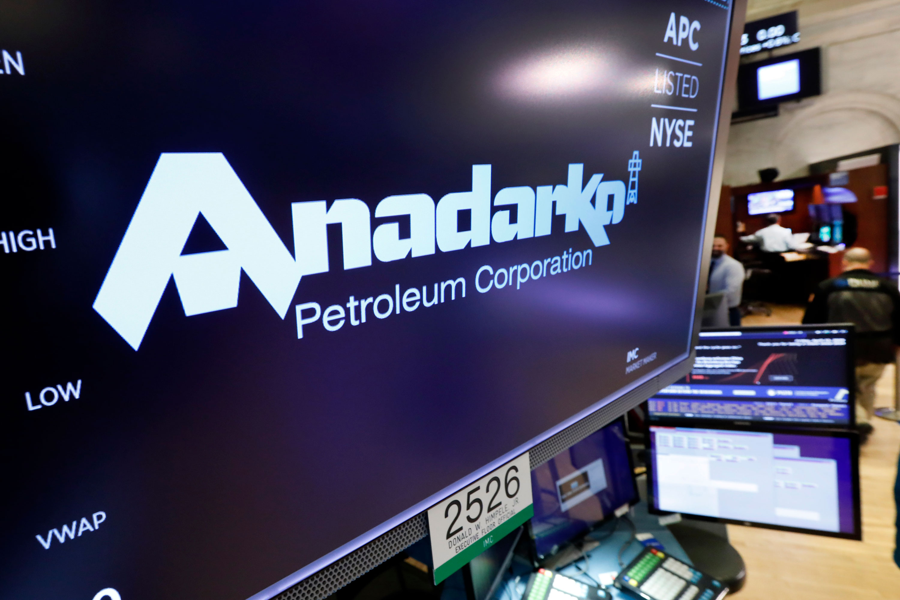 <p>The logo for Anadarko Petroleum Corp. appears above a trading post on the floor of the New York Stock Exchange, Friday, April 12, 2019. Chevron said it would pay $33 billion to buy rival Anadarko Petroleum. </p>