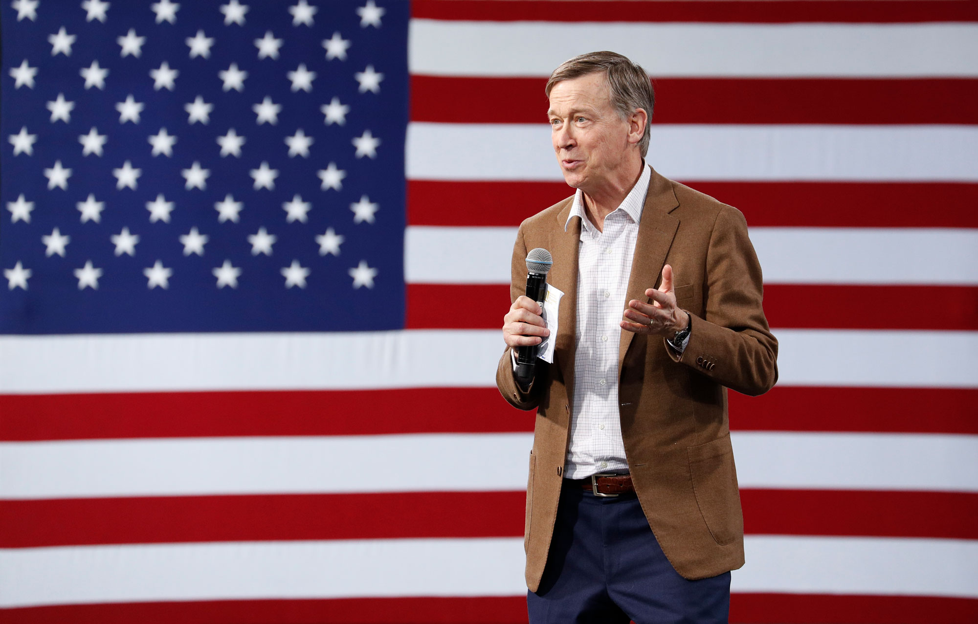 <p>Democratic president candidate and former Colorado Gov. John Hickenlooper speaks at a Service Employees International Union forum on labor issues, Saturday, April 27, 2019, in Las Vegas.</p>