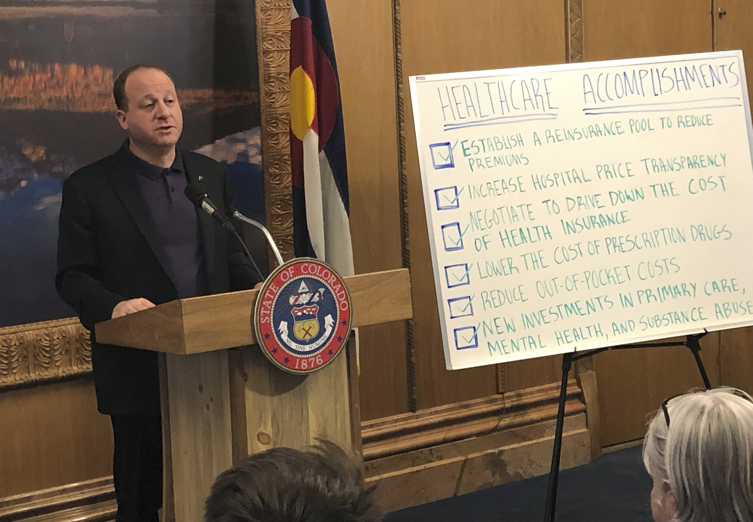 <p>Colorado Gov. Jared Polis touts the Democrat-led legislature's accomplishments in tackling health care costs at a state Capitol briefing on Friday, May 3, 2019, in Denver.</p>