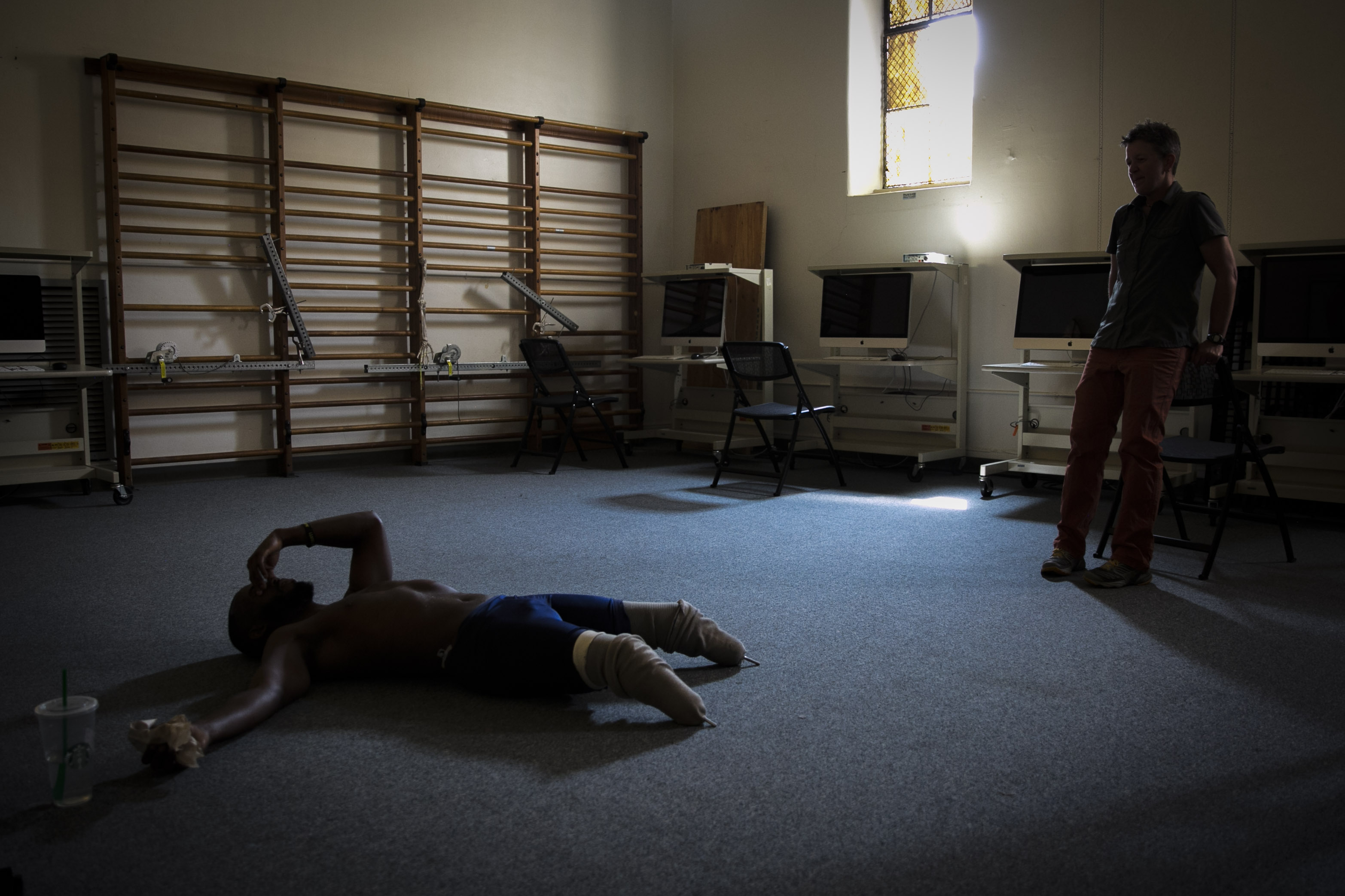 <p>Blake Leeper, left, recovers after running a sprint at the University of ColoradoApplied Biomechanics Laboratory Friday, August 24, 2018. At right is the lab's director,Alena Grabowski.</p>