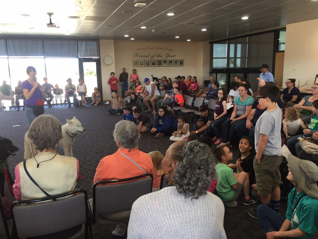 Boy asking question about wolves at Pueblo library