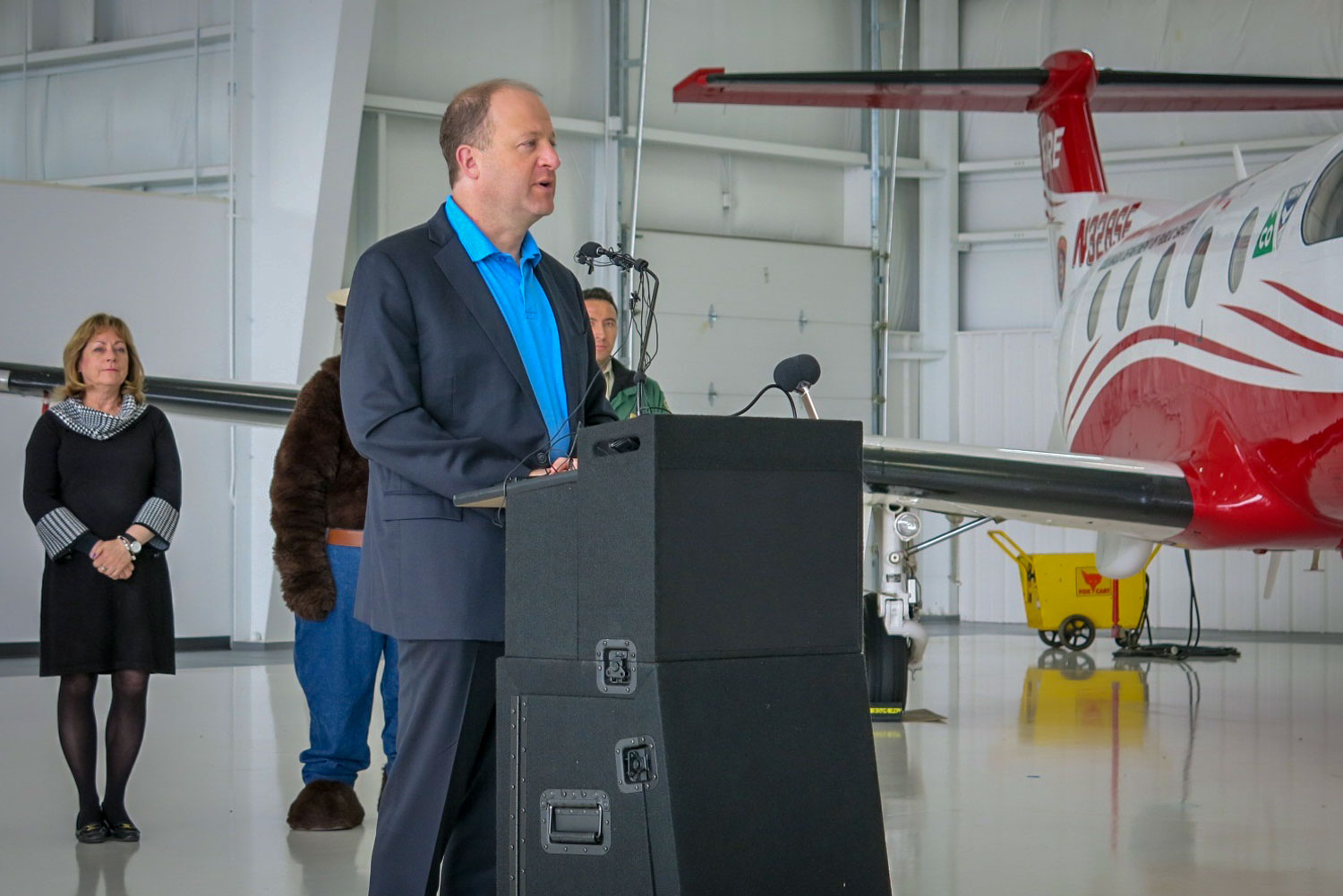 <p>Despite a below-average projected wildfire season, Gov. Jared Polis urged homeowners to take action to protect their properties against fire risk, May 7, 2019</p>