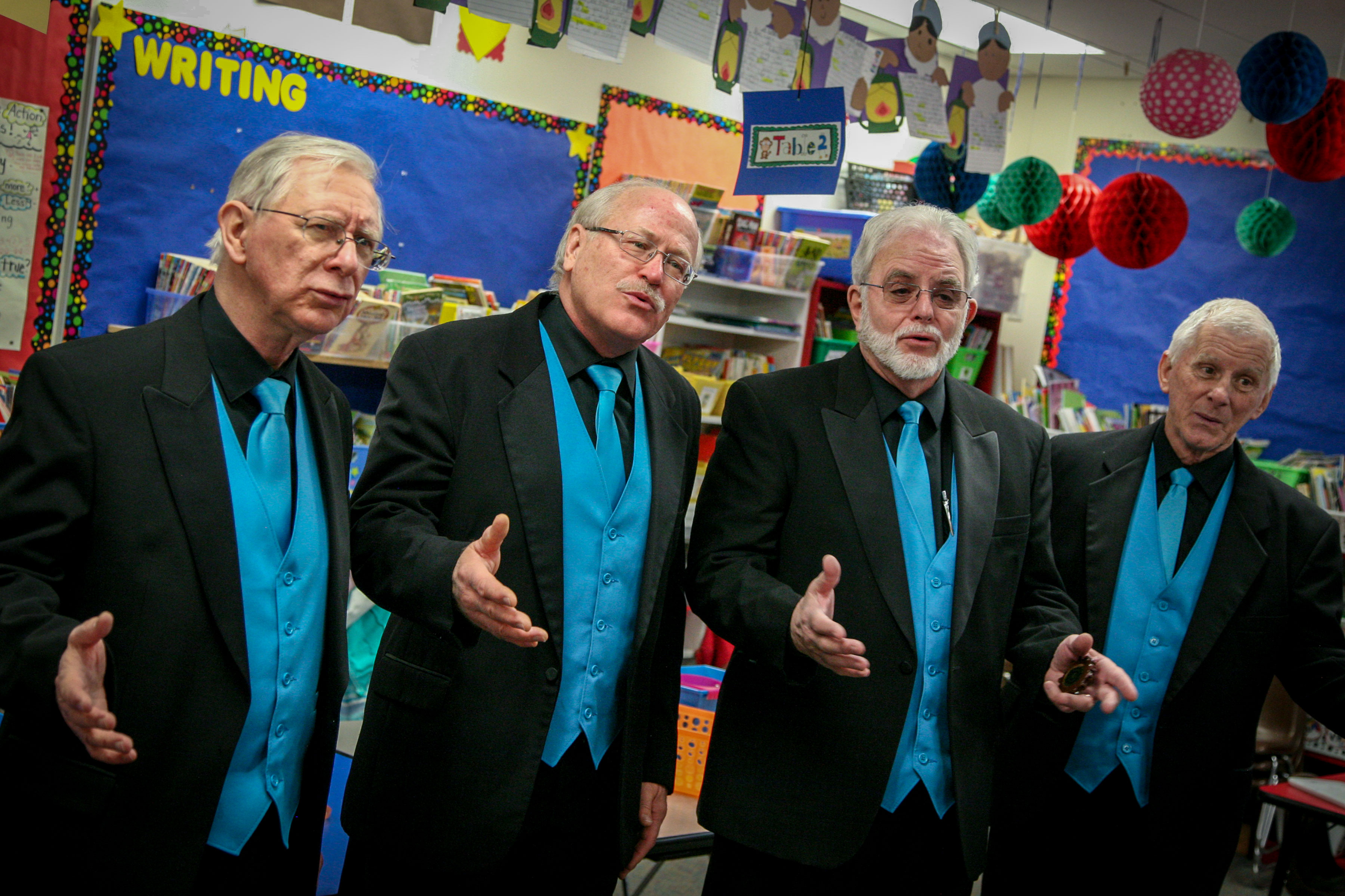 <p>People sent barbershop choruses to deliver singing valentines all over the country Thursday. In Grand Junction, the guys of Canyon Grand had 15 appointments, with more for the true procrastinators on Friday. From left is George Humfeld, Olyn Carlson, Dave Woodward and Bob Labig.</p>