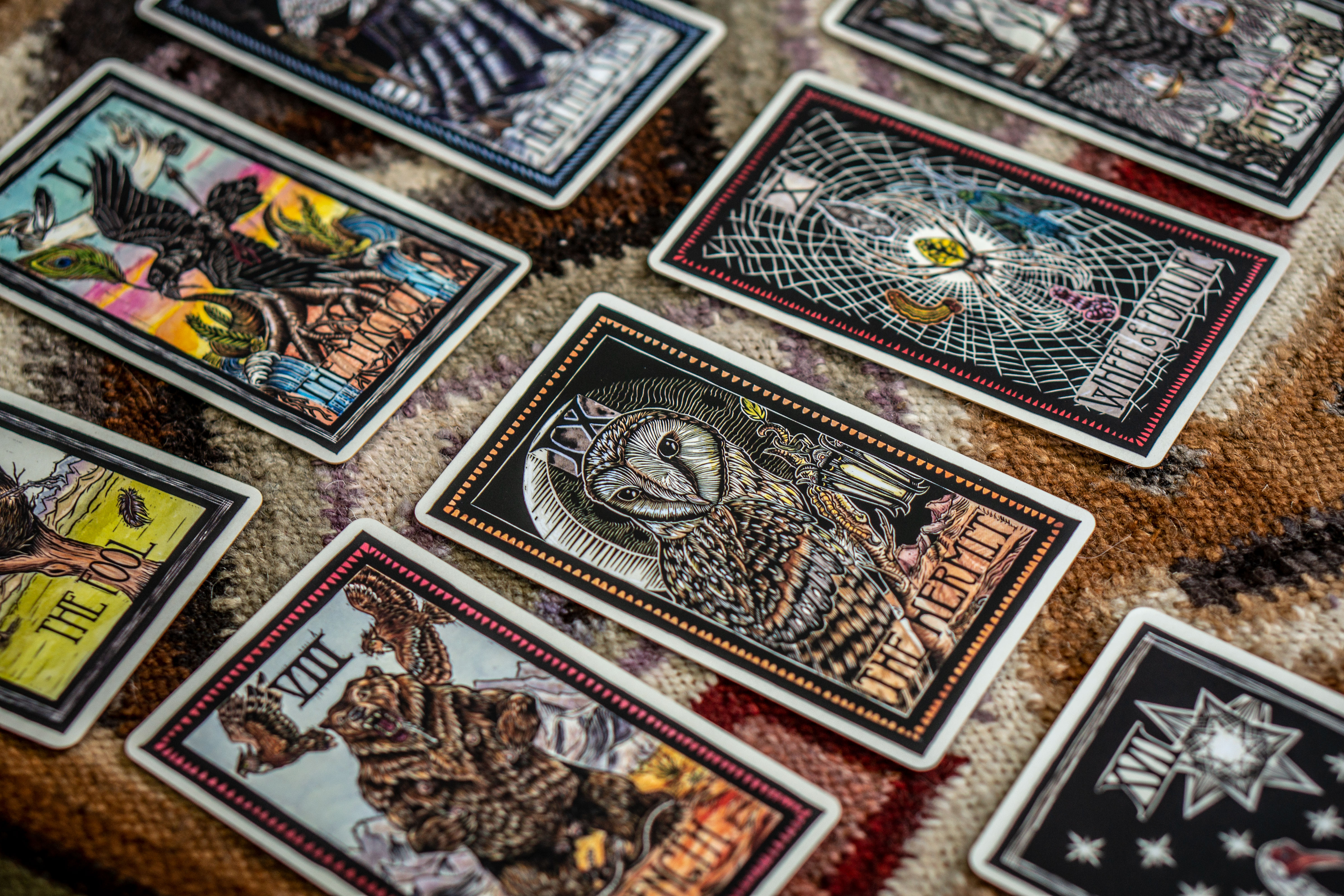 Emi Brady's deck of Tarot Cards features 78 hand-colored linocuts.