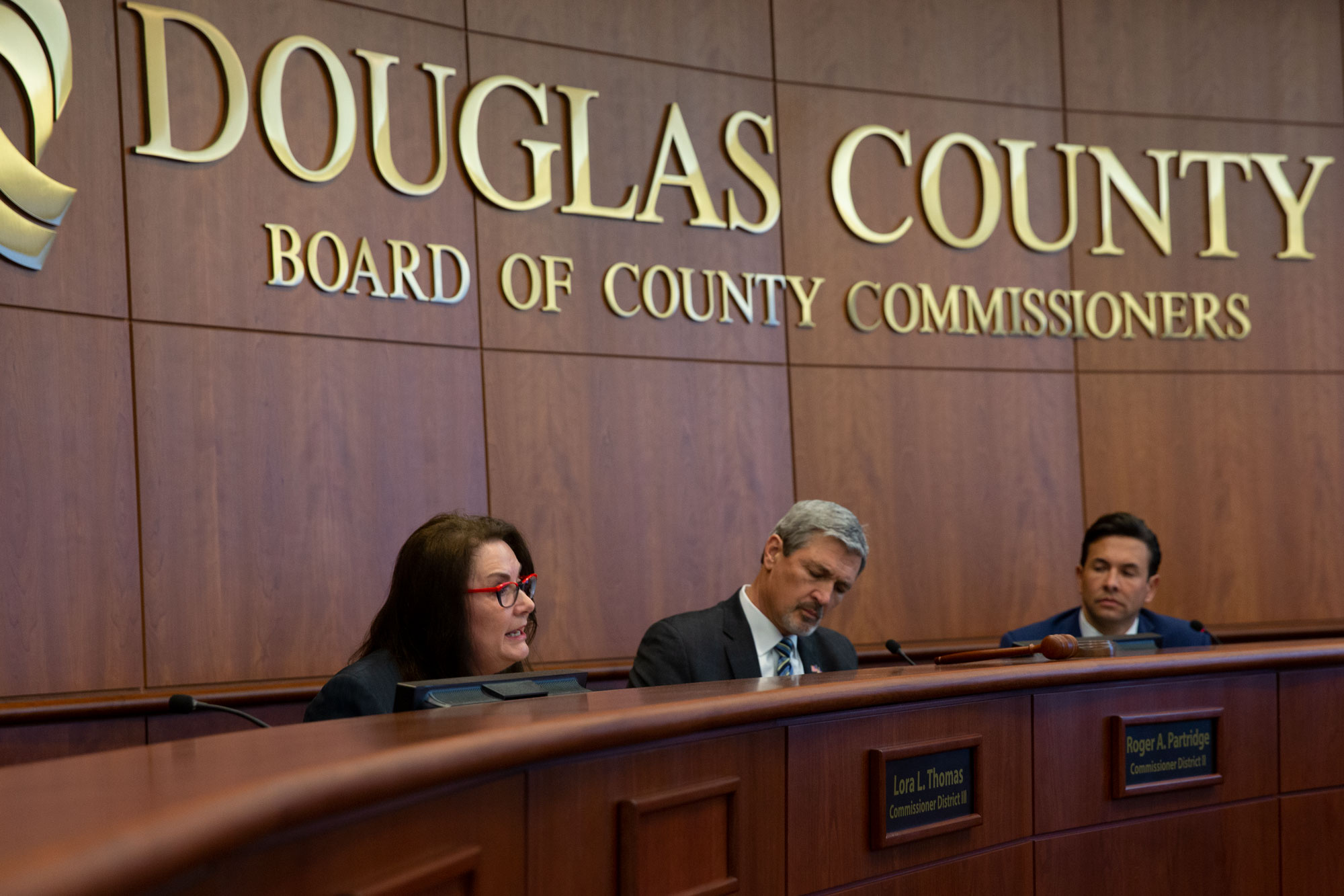 <p>Douglas County Commissioners Lora Thomas, Roger Partridge and Abe Laydon at a Monday, May 13, meeting to discuss a budget proposal to fund school safety.</p>