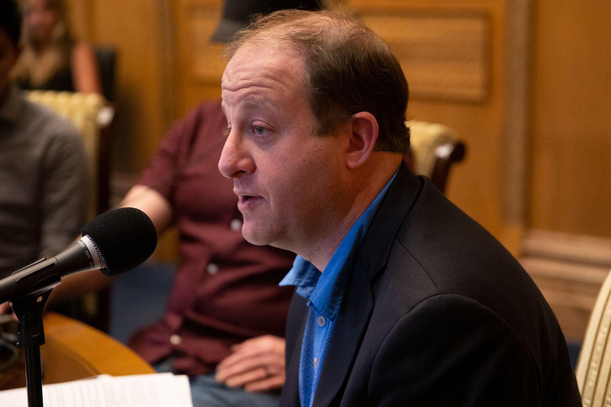 <p>Gov. Jared Polis in his office at the Colorado Capitol on Thursday, June 17, 2019.</p>