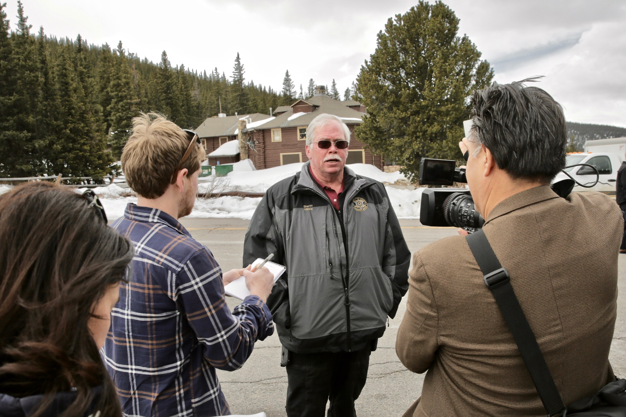 <p>Clear Creek County Sheriff Rick Albers describes how officers found the body of Sol Paisnear Echo Lake Lodge below Mount Evans, April 17, 2019.</p>