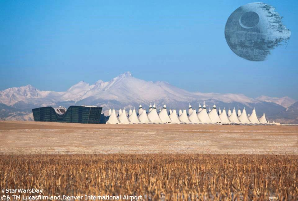 """<p>""""That's no moon."""" The Death Star from """"Star Wars"""" appears over Denver International Airport in this cimputer-generatedphoto montage.</p>"""