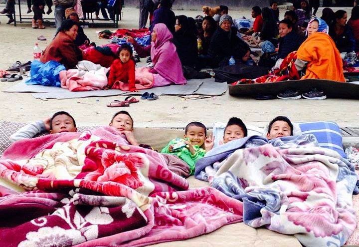 <p>Children bedding down out in the open after an earthquake devastated Kathmandu, Nepal, on Saturday.</p>