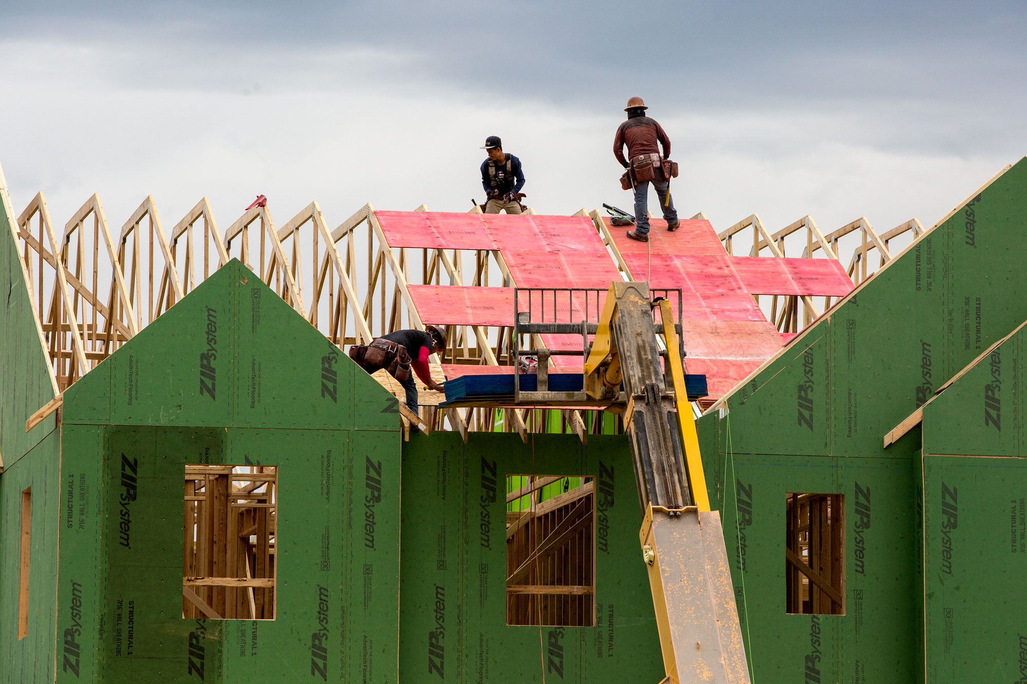 <p>New home construction in Denver's Stapleton neighborhood Thursday, May 16, 2019.</p>
