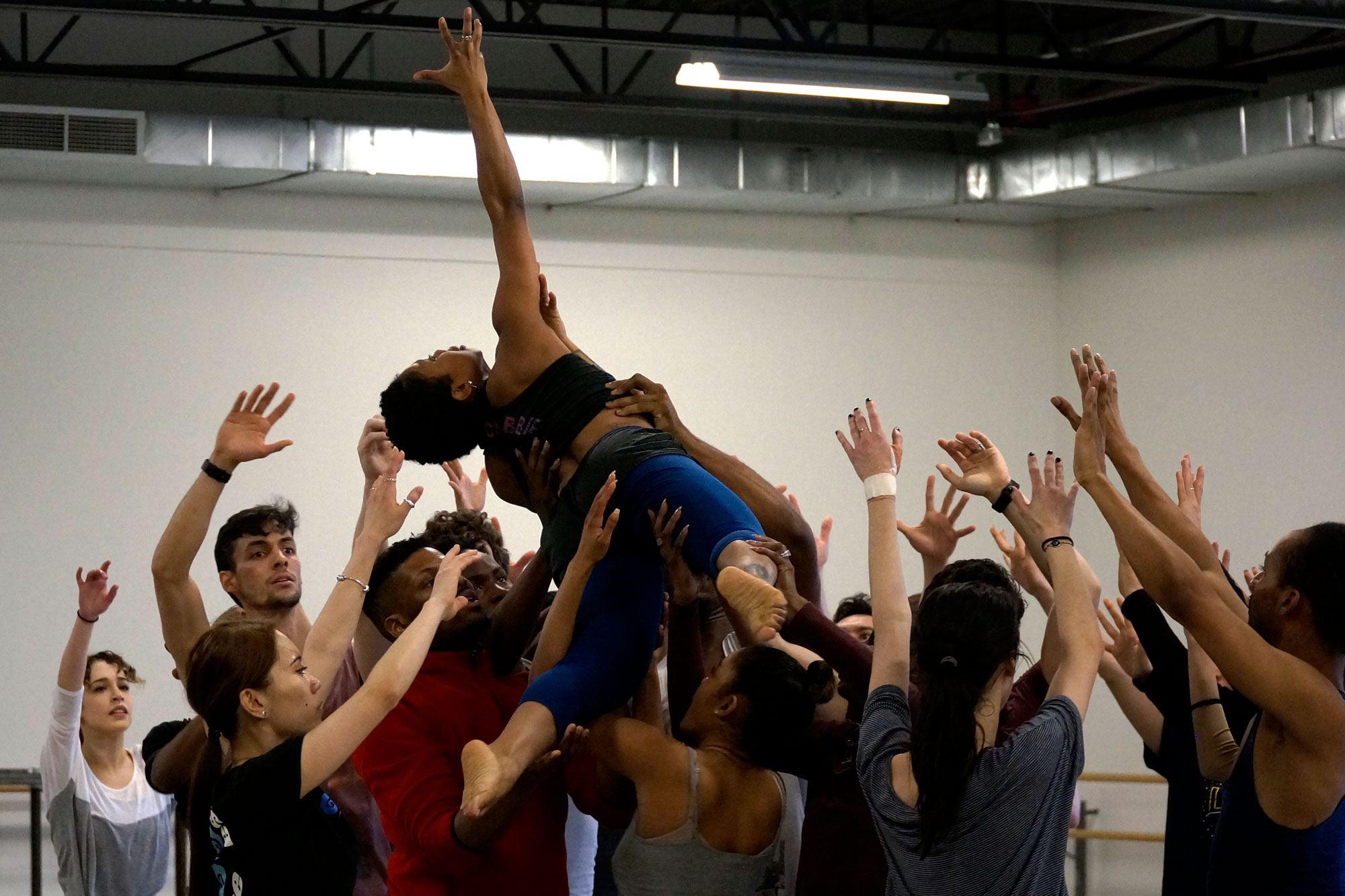 <p>Artists of the Colorado Ballet and Cleo Parker Robinson Dance Ensemble in rehearsal for a new contemporary work by Parker Robinson at the Colorado Ballet studios in Denver on Feb. 22, 2019.</p>