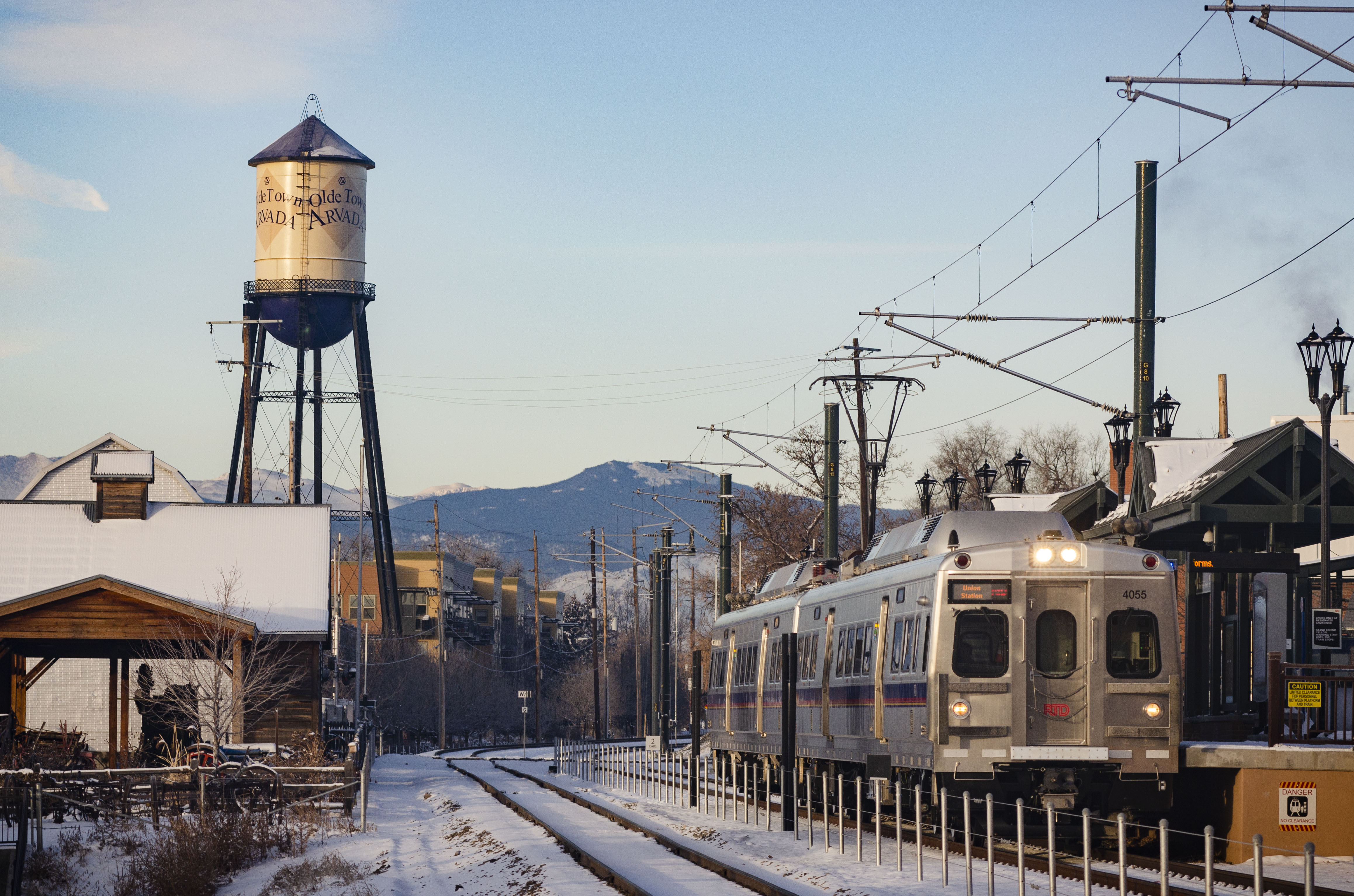 An RTD G Line train idles at the Olde Town Arvada stop during a test run on February 8, 2019.
