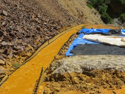 <p>Waste Water from the Gold King Mine near Silverton, in a channel around the adjacent dump.</p>