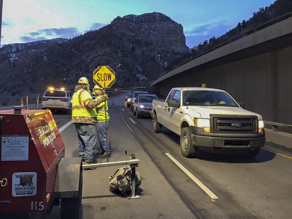 <p>Colorado Department of Transportation crews reopen Interstate 70 through Glenwood Canyon on Sunday, Feb. 21, 2016.</p>