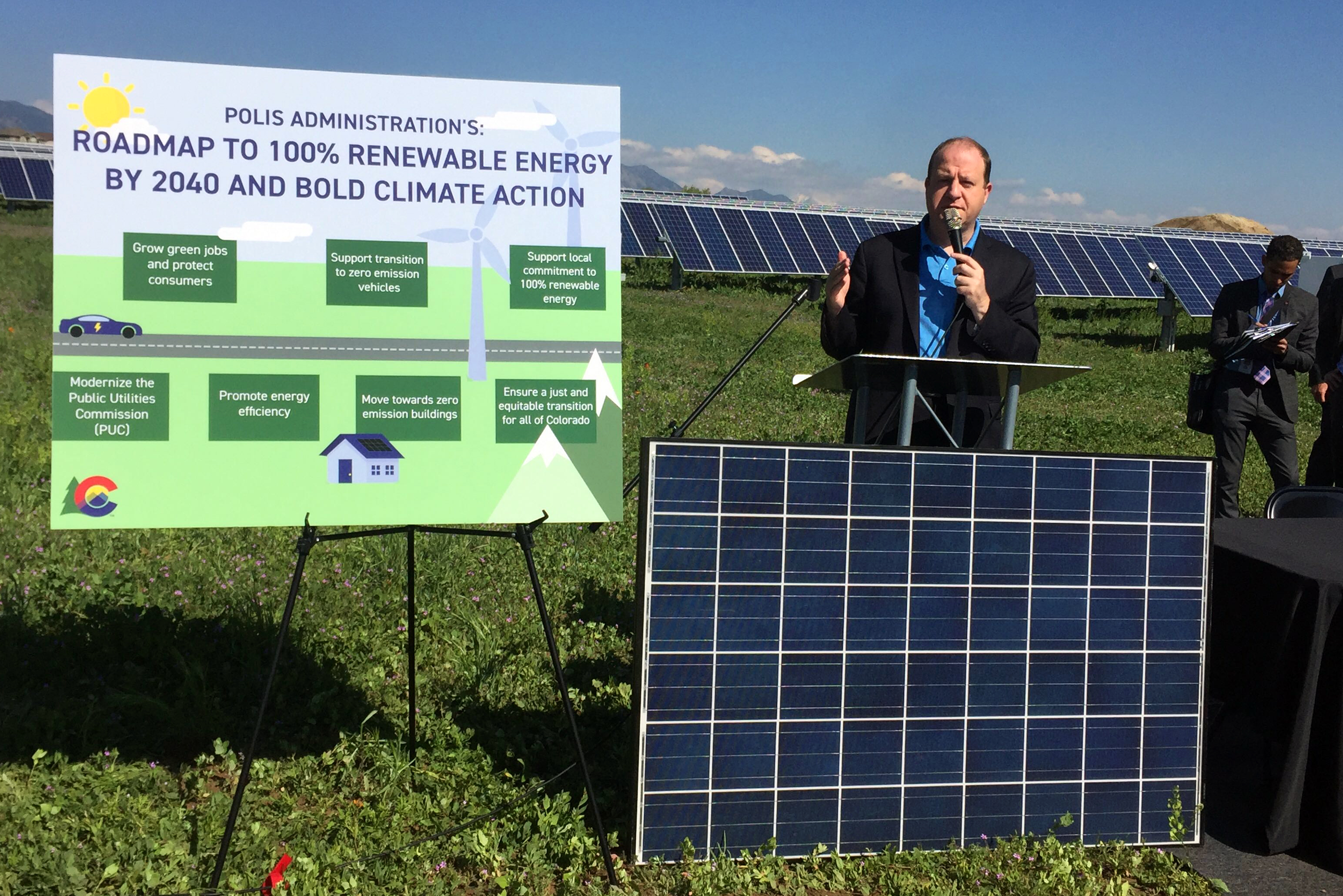 """<p>Colorado Governor Jared Polis unveils his """"roadmap"""" toget the state to 100 percent renewable energy by 2040. He signed seven new bills into law Thursday, May 30, 2019 at a solar energy """"garden."""" The bills are intended to limit the state's contributions to warming.</p>  <p></p>"""