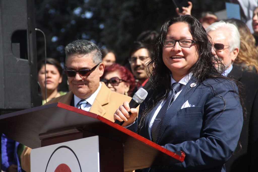 <p>State Rep. Rochelle Galindo of Greeley during a rally for Latino/a Advocacy Day on Monday, March 11, 2019, in Denver.</p>