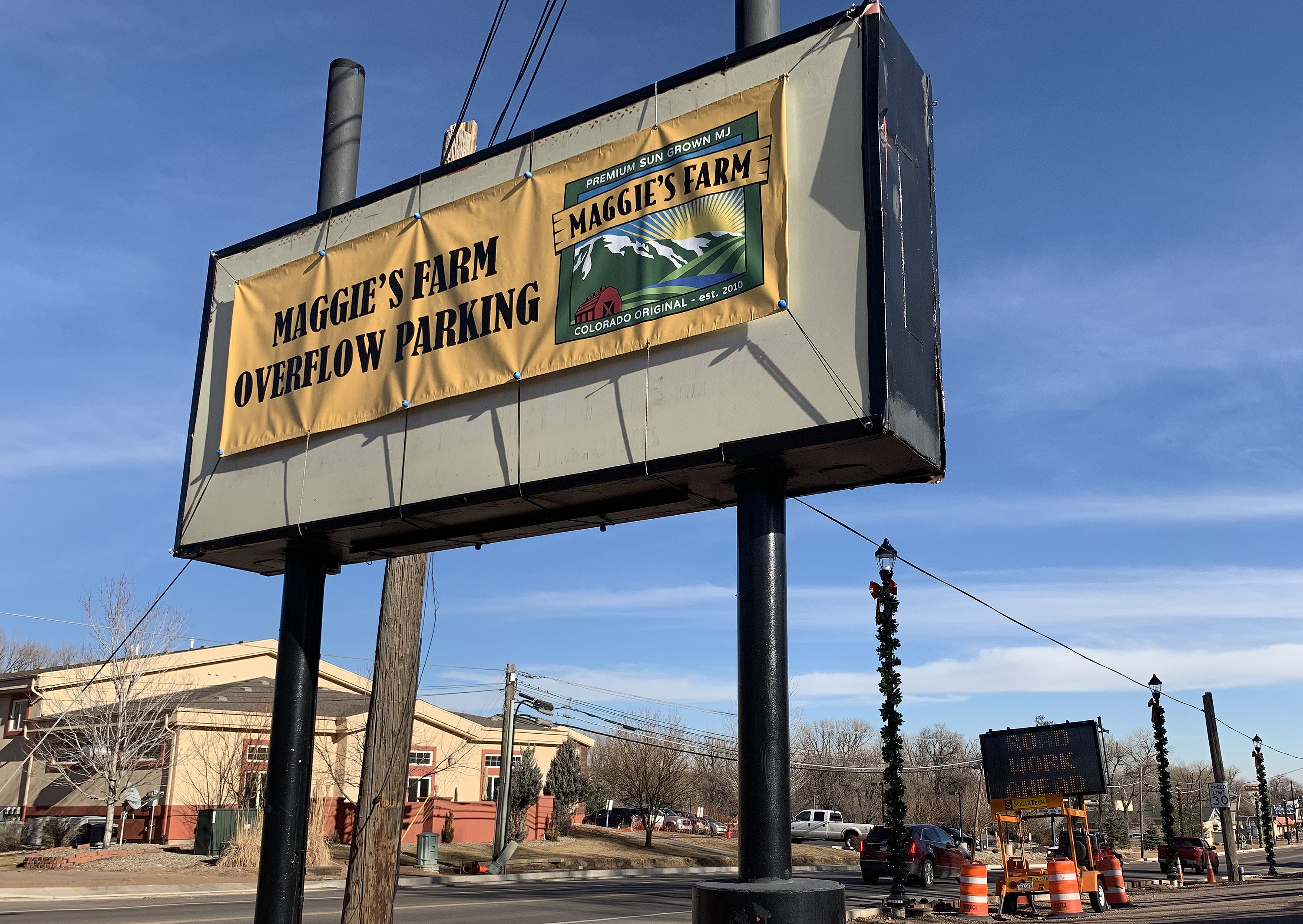 <p>Marijuana sales taxes help fund a Manitou Springs beautification project photographed Dec. 26, 2018, near the overflow parking for Maggie's Farm, a recreational marijuana dispensary.</p>
