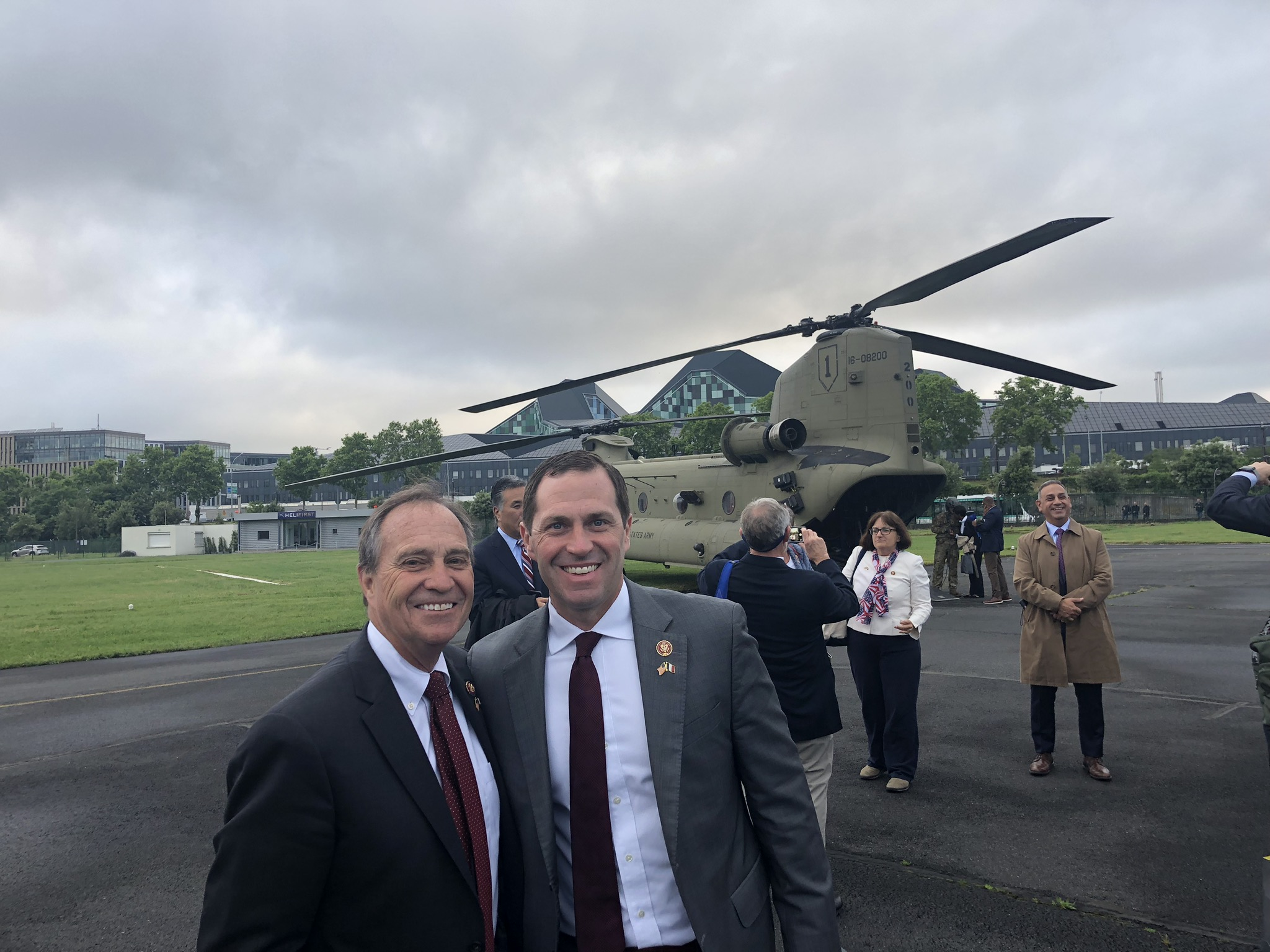 <p>Democratic Congressmen Ed Perlmutter and Jason Crow in Normandy, France, for the 75th anniversary of the D-Day Invasion.</p>